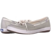 Keds Glimmer Lace Up Boat Shoes 553, Silver, 6.5 US / 37 EU - $21.11
