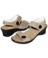 ✿ LA PLUME Abigail Taupe Italian Nubuck Leather Anti-Shock Wedge Sandal ... - $46.54