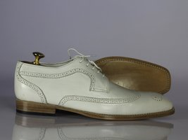 Handmade Men's White Heart Medallion Wing Tip Lace Up Dress/Formal Leather Shoes image 5