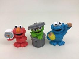 Oscar The Grouch Cookie Monster Elmo Sesame Street Toy Figures 3pc Lot Hasbro - $20.44