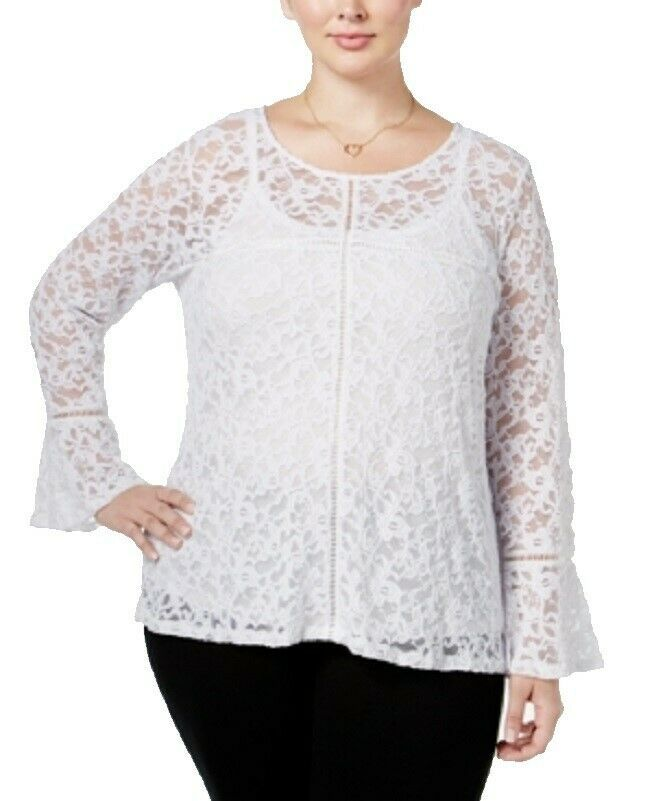 2X INC International Concepts Women's Plus Lace Bell-Sleeve Shirt Top with Cami