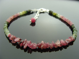 Raspberry Pink Tourmaline and Watermelon Tourmaline 925 Sterling Silver Bracelet - $45.00