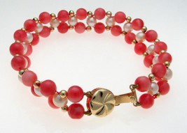14 Carat Gold Bead Coral and Pearl Three Strand Bracelet - $123.74