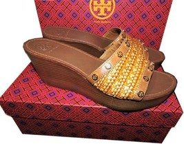 $255 Tory Burch Joanie Studded Straw Clogs Wedge Sandals Flats Shoe Slid... - $99.99