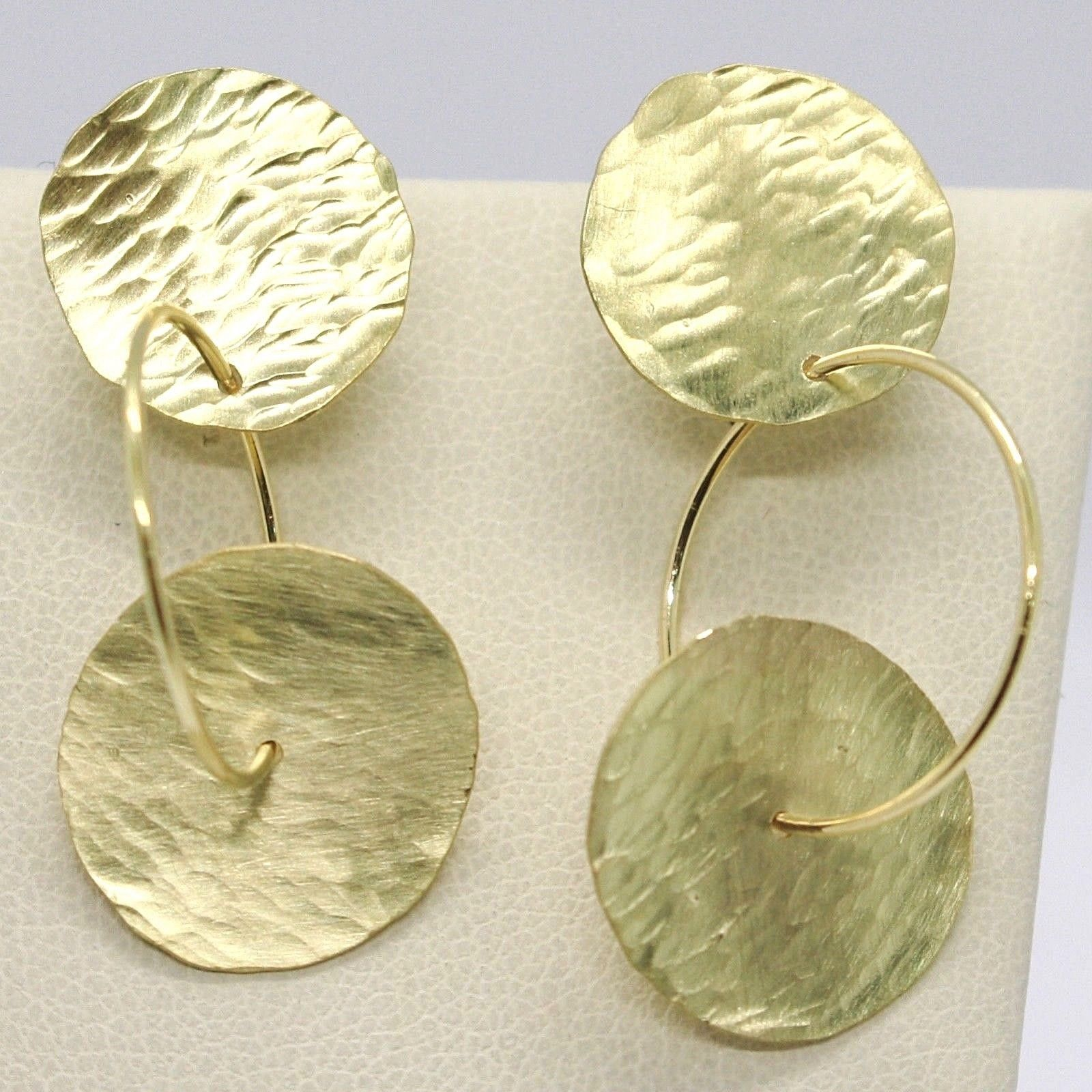 DROP EARRINGS YELLOW GOLD 750 18K, DOUBLE DISCS HAMMERED, ITALY MADE