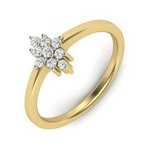 Swarovski Diamond Anniversary Ring Solid 10k Yellow Gold Unique Wedding Ring Her - $389.99