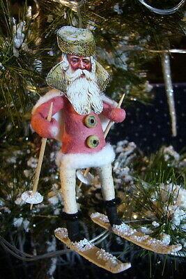 Vintage Inspired Spun Cotton Skiing Santa