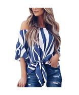 New Sexy Women Off Shoulder Chiffon Blouse Striped Print Flare Sleeve Ti... - $42.25