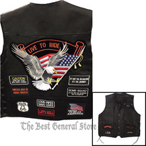 Black Solid Leather Motorcycle Vest with 14 Patches Biker Waistcoat Side... - $31.99+
