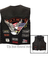 Black Solid Leather Motorcycle Vest with 14 Patches Biker Waistcoat Side... - $32.99+