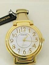 Vintage Demore Large Bezel Gold Strap Quartz Ladies Watch Runs 1980s NEW - $14.00
