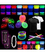 Party Set [XL] neon nights Fun-Pack 65 pieces with UV Body Paint + Fabri... - $76.59