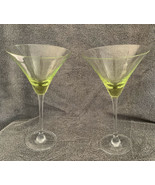 Pair of Green Flared Bowl Martini Glasses Thin Clear Stem Tall Stemware ... - $26.72