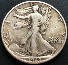 1942-D USA Walking Liberty 90% Silver 50 Cent Half Dollar Coin - Great C... - $10.38