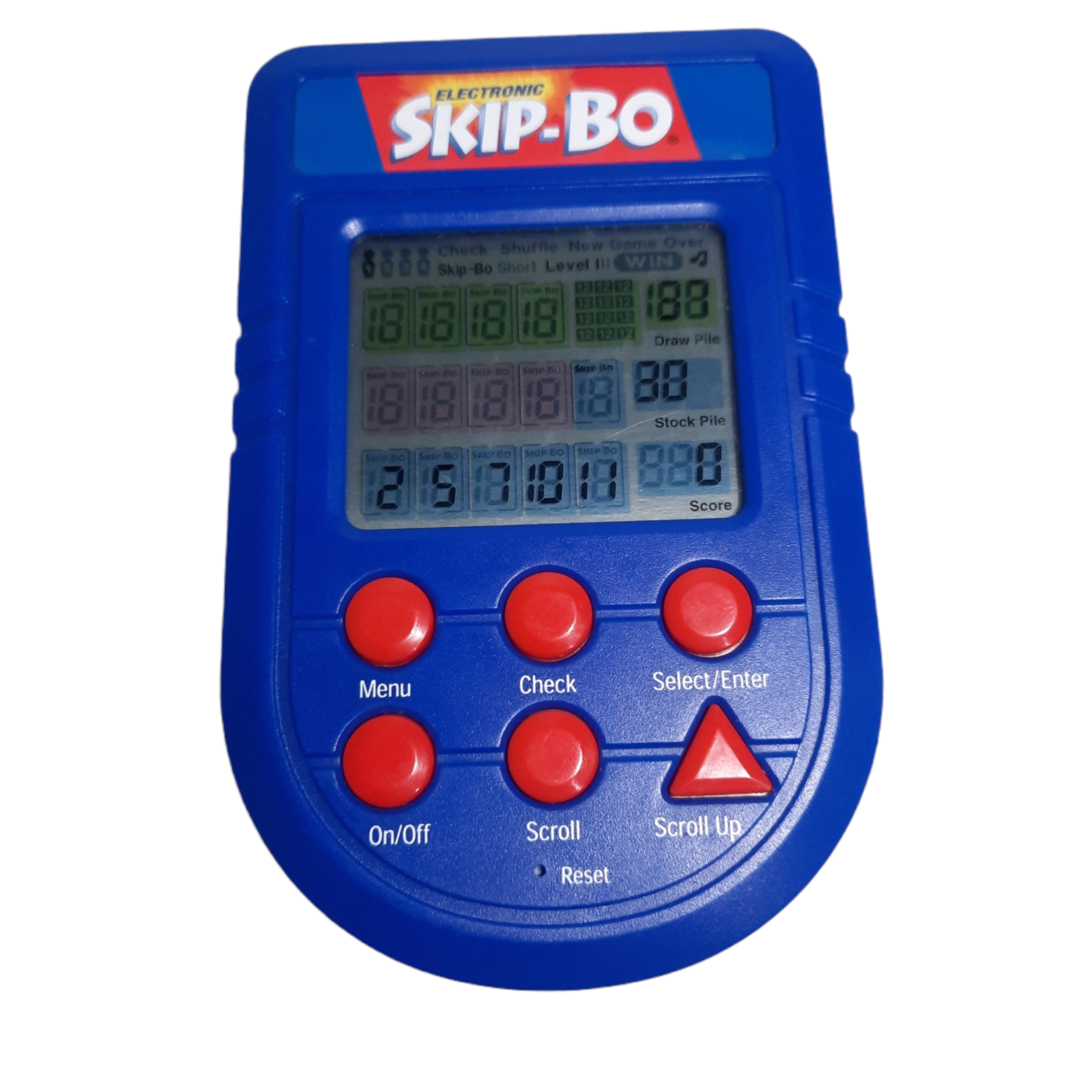 Electronic Skip-Bo Handheld card Game Mattel 2002 Tested WORKS w/ Batteries  - $28.77
