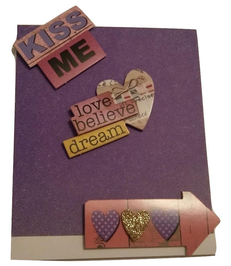 Simple yet charming purple kiss me greeting card