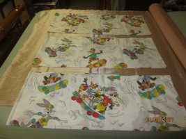 "3 BUGS BUNNY & FRIENDS ON SKATEBOARDS Valances or Fabric - 14"" x 77"" each - $11.88"