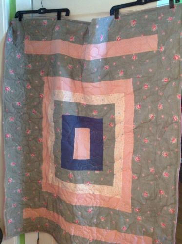 Handmade One Of A Kind Oversized Lap Quilt In Pink And Grey