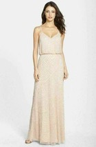 Adrianna Papell Embellished Blouson Gown Dress Sz 14 Blush - $137.28