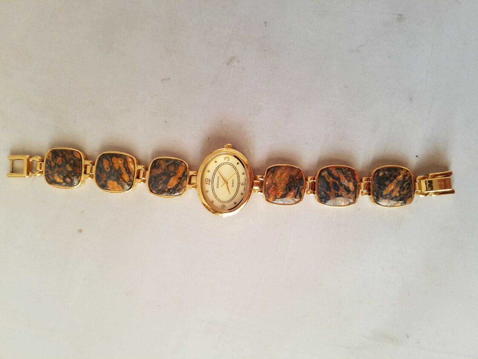 Badavici Vintage Women's Wrist Watch Semi Precious Stones Gold Tone Oval Quartz