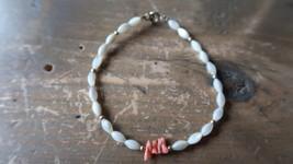 "Vintage Genuine Red Finger Coral and Faux Pearl Bracelet 7.25"" - $10.10"