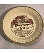 "Vtg 1983 ROYAL CHINA Jeannette USA 11"" STRAWBERRY PIE RECIPE Baking PLAT... - $24.99"