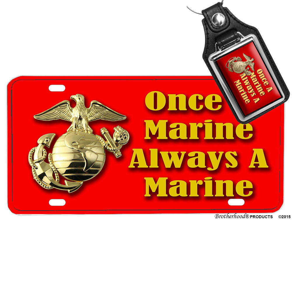 Primary image for US Marine Corps Once A Marine Always A Marine License Plate Matching Key Ring