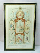Antique French 1908 Catholic Certificat Communion print signed dated - $49.00