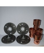 4 x Malleable iron metal Flange  and 4 X Copper 28mm Pipe Fitting *LOOK* - $18.25
