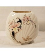 Japanese Clam Shell Vase White With Flowers & Butterfly 6 3/4 Tall & App... - $19.87