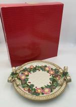 "Fitz & Floyd Classics Round Platter 12-1/4"" Christmas Wreath Gold W/Box 20-1119 - $47.45"
