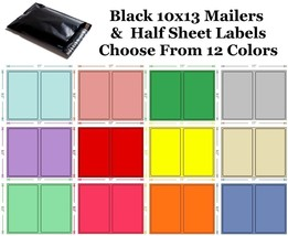 10x13 ( Black ) Poly Mailers + Colored Half Sheet Self Adhesive Shipping... - $2.99+