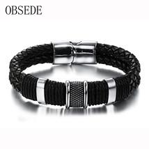 Fashion Genuine Leather Men Bracelet Titanium Stainless Steel Cuff Brace... - $12.02
