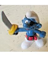 Vintage SMURFS Smurf PIRATE mini PVC Figure toy - $5.99