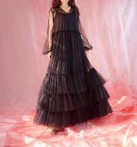 Women Black Maxi Dress Gown Long Sleeve Loose Tiered Tulle Party Dress Plus Size image 8