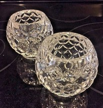 """Set of 2 Heavy Round Pressed Clear Glass Candle Holder. 4"""" Glass Ball. - $10.88"""