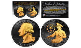 1976 BLACK RUTHENIUM Bicentennial US Quarter Coin w/ 24K GOLD features 2... - $13.81