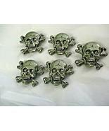 "Cracked Skull Crossbones 1.25"" Lot of 5  Pendent  Slides Buttons Pewter Tone - $19.79"