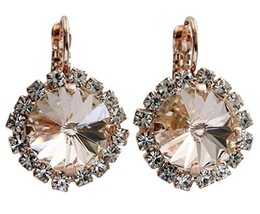 "Mariana""Kalahari"" Rose Goldtone Rivoli Cushion Statement Crystal Earring... - $74.27"