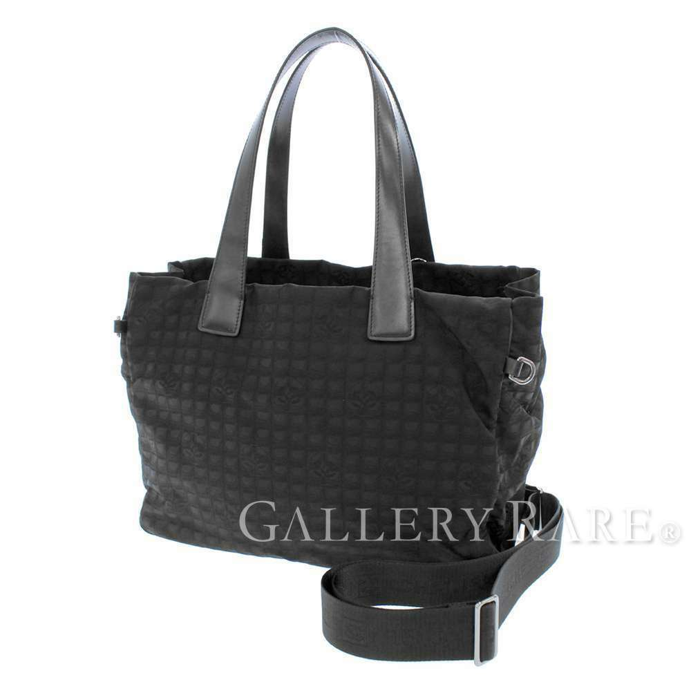 CHANEL Tote Bag New Travel Line MM Nylon Leather Black A26156 Authentic 5512768