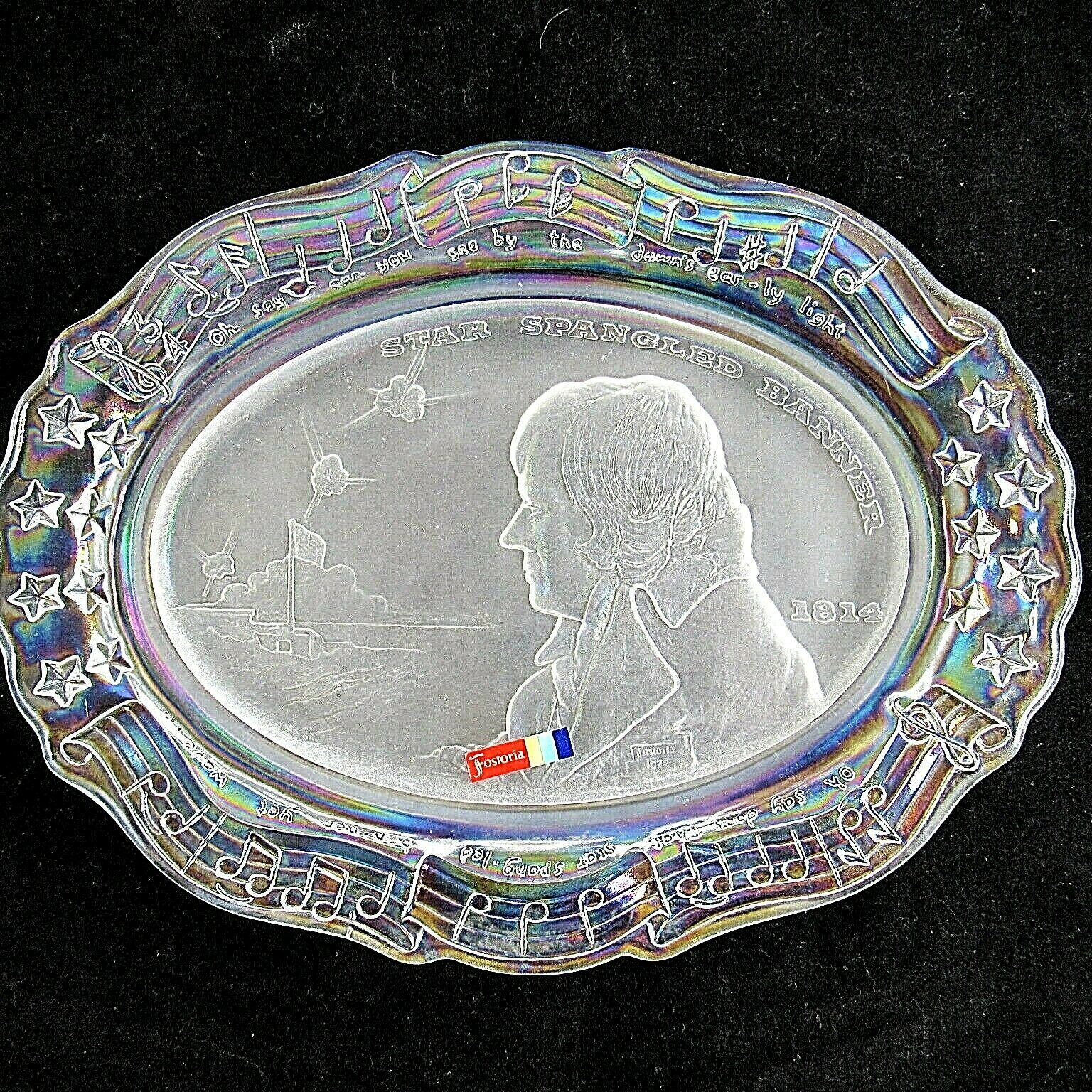 Fostoria Iridescent Francis Scott Key Glass Plate Star Spangled Banner Anthem - $29.69