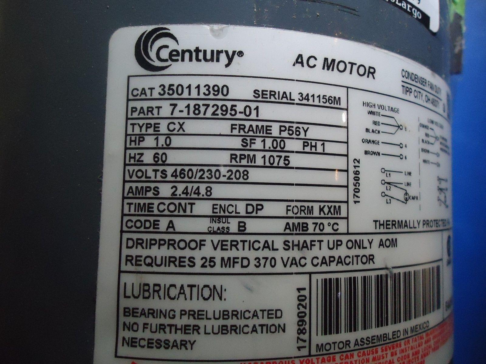 Century AC Motor 7-187295-01 Fan Duty and 50 similar items