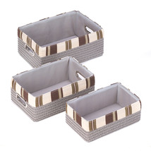 15164B  Taupe Woven Nesting Baskets Lined Silver Handles Set of 3 - $26.95