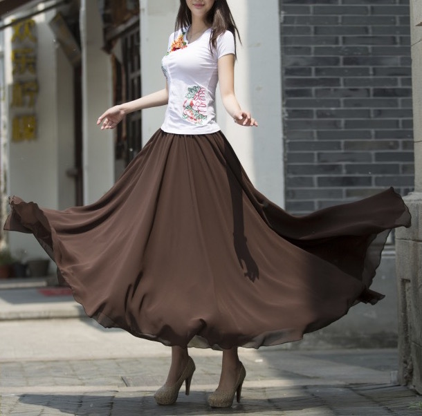 Women Chiffon Maxi Skirt Black White Brown Maxi Skirts Wedding Chiffon Skirt