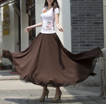 Women Chiffon Maxi Skirt Black White Brown Maxi Skirts Wedding Chiffon Skirt image 1
