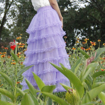 Women Purple Layered Tulle Skirt Outfit Plus Size Romantic Wedding Party Outfit  image 2