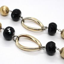 Silver necklace 925, Onyx, Oval Corrugated, Spheres Satin, Chain Rolo image 5