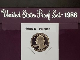 1986~S WASHINGTON GEM QUARTER DEEP CAMEO CLAD FROM MY US MINT PROOF SET ... - $7.87
