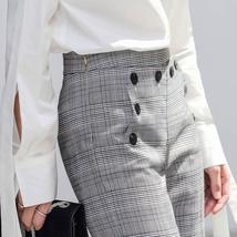 Women's Brand Fashion Plaid Double Breasted Blazer with Belt Pants Suit image 5