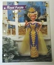 Royal Purple Barbie Doll Annie's Plastic Canvas Pattern Leaflet L9-QQ - $4.74